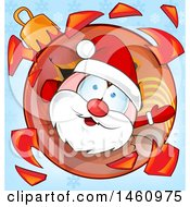 Clipart Of A Shattered Christmas Bauble And Santa Royalty Free Vector Illustration