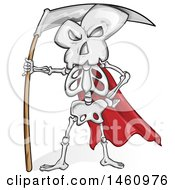 Clipart Of A Skeleton And Scythe Royalty Free Vector Illustration