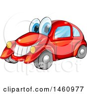 Clipart Of A Happy Red Car Mascot Royalty Free Vector Illustration