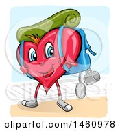 Clipart Of A Happy Heart Mascot With Hiking Gear Royalty Free Vector Illustration