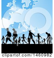 Clipart Of Silhouetted Immigrants Over A European Map Royalty Free Vector Illustration