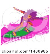 Clipart Of A Pop Art Styled Surfer Royalty Free Vector Illustration