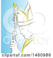 Clipart Of The Pope Against Rays Royalty Free Vector Illustration