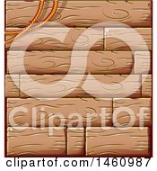Clipart Of A Rope And Wood Panel Background Royalty Free Vector Illustration