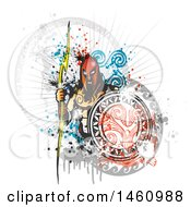 Clipart Of A Zeus And Grunge Design Royalty Free Vector Illustration