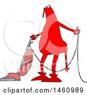 Cartoon Chubby Red Devil Vacuuming