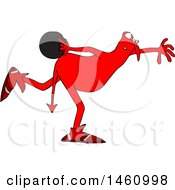 Clipart Of A Chubby Red Devil Bowling Royalty Free Vector Illustration by djart