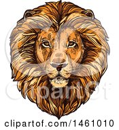 Clipart Of A Sketched Majestic Male Lion Head Royalty Free Vector Illustration by Vector Tradition SM
