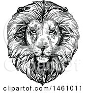 Clipart Of A Sketched Majestic Male Lion Head Royalty Free Vector Illustration