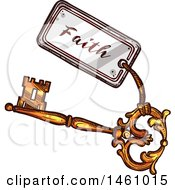 Clipart Of A Sketched Vintage Skeleton Key With A Faith Tag Royalty Free Vector Illustration