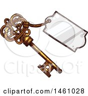 Clipart Of A Sketched Vintage Skeleton Key With A Tag Royalty Free Vector Illustration by Vector Tradition SM