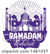 Clipart Of A Purple Ramadan Kareem Design With A Mosque And Text Royalty Free Vector Illustration
