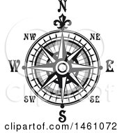 Black And White Directional Compass Rose