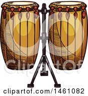 Clipart Of A Sketched Conga Drum Set Royalty Free Vector Illustration by Vector Tradition SM