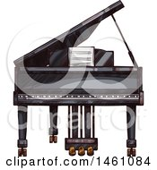 Clipart Of A Sketched Piano Royalty Free Vector Illustration