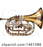 Clipart Of A Sketched Tuba Royalty Free Vector Illustration