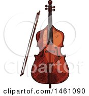 Clipart Of A Sketched Cello Or Bass Royalty Free Vector Illustration