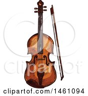 Clipart Of A Sketched Violin Royalty Free Vector Illustration by Vector Tradition SM