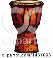 Clipart Of A Sketched Conga Drum Royalty Free Vector Illustration by Vector Tradition SM