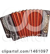 Clipart Of A Sketched Accordion Royalty Free Vector Illustration