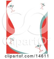 Stationery Background With A Border Of Martinis Retro Clipart Illustration