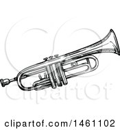 Clipart Of A Sketched Trumpet Royalty Free Vector Illustration