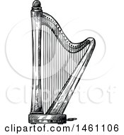 Clipart Of A Sketched Harp Royalty Free Vector Illustration