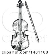 Clipart Of A Sketched Violin Royalty Free Vector Illustration