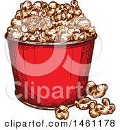 Clipart Of A Sketched Popcorn Bucket Royalty Free Vector Illustration by Vector Tradition SM