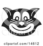 Evil Black Cat Grinning Clipart Illustration