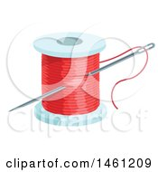 Sewing Needle And Spool Of Red Thread