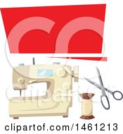 Clipart Of A Sewing Design With A Banner And Sewing Machine Royalty Free Vector Illustration by Vector Tradition SM