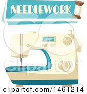 Clipart Of A Sewing Design With A Needlework Banner And Sewing Machine Royalty Free Vector Illustration by Vector Tradition SM