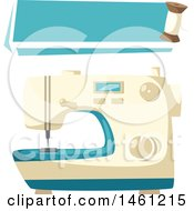 Sewing Design With A Banner And Sewing Machine