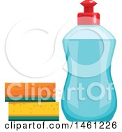 Clipart Of A Bottle Of Dish Soap And Sponges Royalty Free Vector Illustration