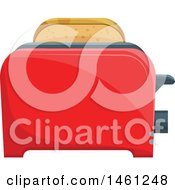 Clipart Of A Slice Of Bread In A Toaster Royalty Free Vector Illustration