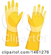 Clipart Of A Pair Of Yellow Cleaning Gloves Royalty Free Vector Illustration by Vector Tradition SM