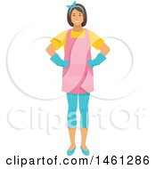 Poster, Art Print Of Happy Maid Cleaner Or House Wife