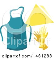 Clipart Of A Cleaning Design With Text Space And An Apron Royalty Free Vector Illustration