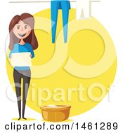 Poster, Art Print Of Cleaning Design With Text Space And A Woman Doing Laundry