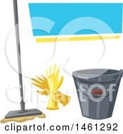 Clipart Of A Cleaning Design With Text Space With A Mop Gloves And Bucket Royalty Free Vector Illustration