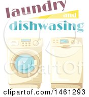 Clipart Of A Laundry And Dishwashing Design Royalty Free Vector Illustration
