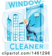 Clipart Of A Skyscraper Window Cleaner Royalty Free Vector Illustration