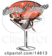 Woman In A Cat Costume Lying In A Giant Martini Glass At A Cocktail Lounge Clipart Illustration