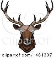 Clipart Of An Elk Face Royalty Free Vector Illustration