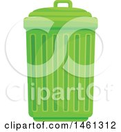 Clipart Of A Green Trash Can Royalty Free Vector Illustration