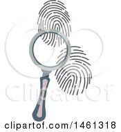 Clipart Of A Magnifying Glass And Fingerprints Royalty Free Vector Illustration by Vector Tradition SM