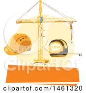 Clipart Of A Construction Design With A Blank Banner Royalty Free Vector Illustration