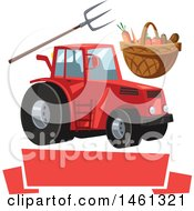 Clipart Of A Tractor Farming Design With A Blank Banner Royalty Free Vector Illustration