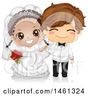 Clipart Of A Happy Cute Black Bride And White Groom Kid Wedding Couple Royalty Free Vector Illustration by BNP Design Studio